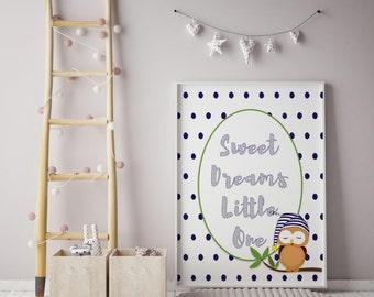 Sweet Dreams Print, digital print, Owl print, 8 x 10 Print, Gallery wall art, home decor, wall art, wall decor, nursery art