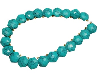 Turquoise Hexagon Shaped Beads, Turquoise Fancy Briolettes Beads, Turquoise Briolettes (14MM Approx)