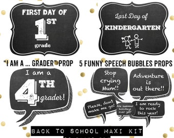 50 First day of school photo signs and photobooth props maxi kit / chalkboard- 50 pages pdf / instant download / funny speech bubbles