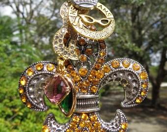 MARDI GRAS LOVE Tree Jewelry Christmas Ornament Fleur de Lis New Orleans