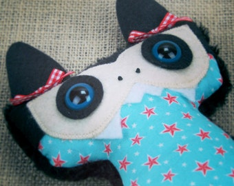 Teal Stars Vampire Bat Plush - Featured in Stuffed Magazine