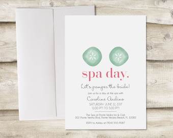 Printed Spa Day Bridal Shower Invitation, Spa Bachelorette Party, Spa Day with Bridesmaids, Birthday Spa Day, Girlfriends Day at the Spa