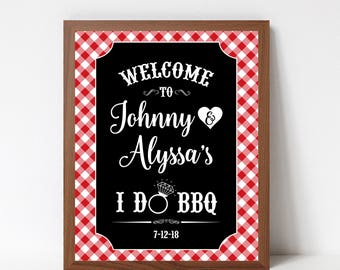 I Do BBQ Welcome Sign Printable, I Do Barbecue Sign, I Do BBQ Couples Shower, Printable Pdf File, Personalized