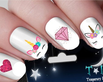 Pink Unicorn Hearts & Diamonds Nail Decals Nail Art Wraps Water Transfers Nails Decals Nail Stickers TI129