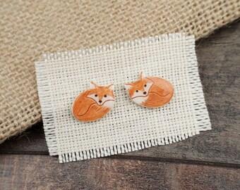 Little Red Fox Stud Earrings