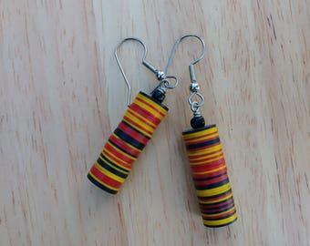 West African bead multi colored earings