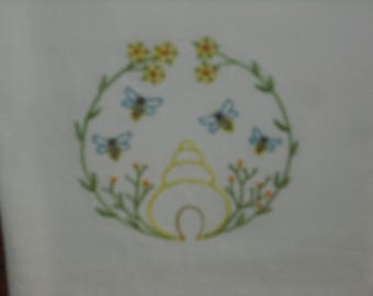 Primitive Style Bee Hive Flour Sack Towel. Machine Embroidered.