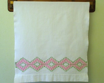 Vintage Hand Embroidered Pink and Green Cotton Dish Kitchen Huck Towel