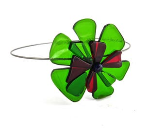 Green Floral Fused Glass Pendant Choker