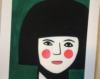 Girl in green with pink cheeks.