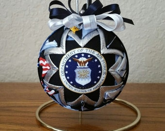 U.S. Air Force Ornament, Air Force Keepsake, Quilted Military Ornament