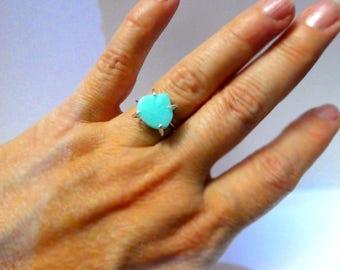 Blue Peruvian opal gemstone ring- Size 7- Boho blue stone sterling silver ring- heart shape gemstone ring- Blue opal ring-Jewelry women gift