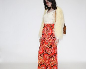 Vintage 60s Hippie Maxi Skirt-  1960s Psychedelic Maxi Skirt  -  The Meditation Skirt  - WB0158