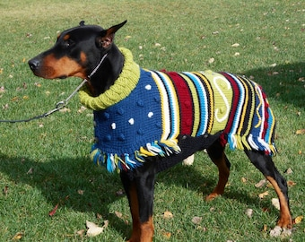 Dog sweater AMIGO hand knitted colorful Peruvian wool for large dogs