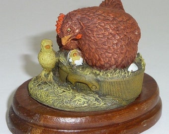Royal Doulton Chickens Sculpture Handpainted 1982 Valerie Skidmore 33035 Country