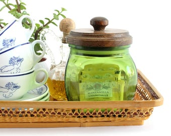Kitchen Canister, Green Glass Jar With Wood Lid