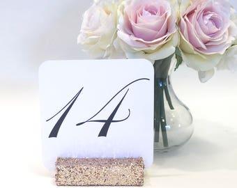 Table Number Holder + Blush Champagne Gold Glittered Table Number Holders (Set of 10)