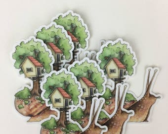 Tree House Snail Sticker