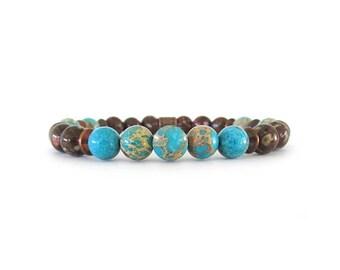 Beaded Bracelet for Men - Beaded Stretch Bracelet - Men's Gemstone Bracelet - Gifts for Men - Bracelets for Men - Beaded Bracelet - M0613