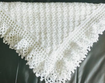 Flo's Lacy baby Afghan, Crochet Christening Shawl, baby blanket, lace edging, first blanket, heirloom, baby blanket, gift, shower