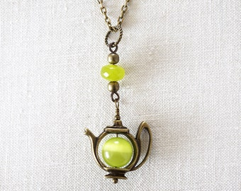 Mothers Day Gift Green Tea Teapot Necklace Cats Eye Pendant Lime Jade Tea Time Charm Alice in Wonderland Mad Hatter Girlfriend Gift Catseye