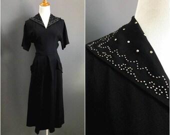 1940s metal studded dress, 1940s studded dress, 1940s studs,  rayon crepe 1940s dress with pockets 40s dress