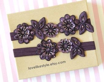 Plum, Dark Purple Beaded Flower Lace Wedding Garter Set, Plum Lace Garter Set, Toss Garter , Keepsake Garter / GT-30