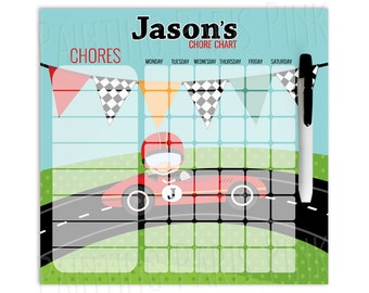 Race Car Personalized Dry Erase Chore Chart   Custom with 5-7 Days of the Week   Transportation