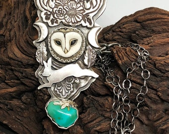Ever Changing recycled cast sterling silver custom necklace with Laura Mears porcelain owl SRA