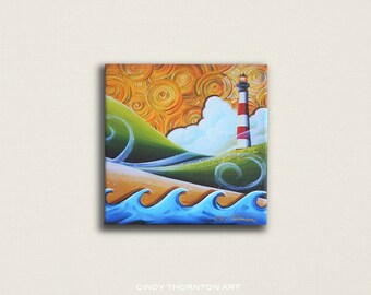 8x8 Signed Canvas Print - The Lighthouse - windy seaside landscape  - by Cindy Thornton