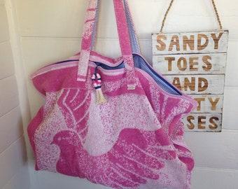 Beach bag/ towel bag/ pink bag oversized bag/ upcycled towelling bag
