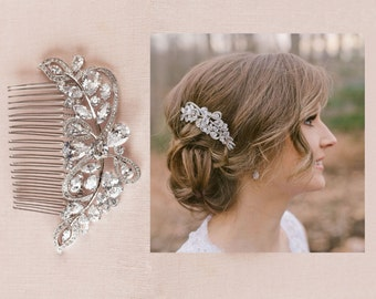Large Bridal Comb, Crystal Wedding headpiece, Rose Gold, Yellow Gold, Wedding Headpiece, Large Linneah Hair Comb
