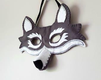 PDF Pattern Felt Wolf Mask Halloween Costume Kids Dressing Up Fancy Dress Holiday Costume