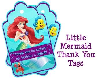 Disney Little Mermaid Birthday Thank You Tags - Ariel Party Thank You Tags Ariel Thank You Cards Ariel Birthday Printable / Instant Download