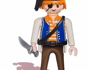 Pirate Toy Art - 5 x 7 Fine Art Giclee Print, Playmobil art