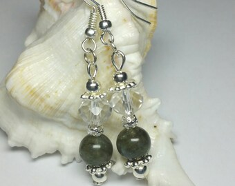 Labradorite Earrings, Crystal Earrings, Gemstone Earrings, Silver Handmade Costume Jewellery, Under 25 Gift, Green Dangle Drop Earrings