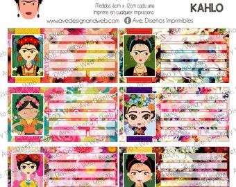 Frida Kahlo Labels, Frida Kahlo Labels for notebook, Frida Kahlo Labels for books