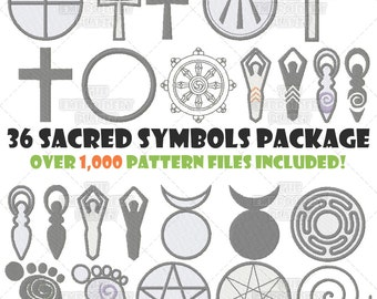 Embroidery Bundle, Sacred Symbols, Pagan embroidery, Spiritual embroidery, Religious embroidery, Machine Embroidery, Pattern, Design