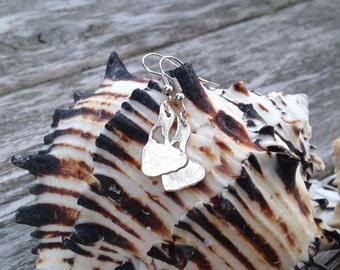 Block island earrings, fine silver dangle earrings, metal clay earrings, recycled fine silver earrings