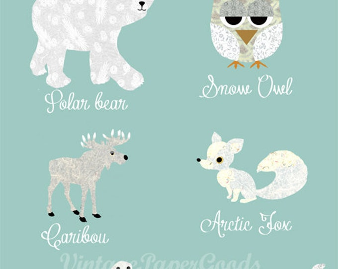 Cute Arctic Animals Collage Poster print with bear, owl, fox, whale, caribou, seal - Childrens Wall Art, Kids Room