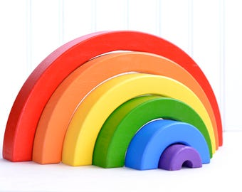 """Wooden Rainbow Stacking Blocks, 7 Piece Set, Wooden Puzzle, Stacker Toy, 12"""" Wide, 6"""" Tall, Waldorf, Montessori, For Babies and Toddlers"""