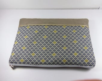 Cover Mac Book Pro Japanese cotton and suede pouch