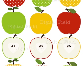 Apple Clip Art Set - red, green and yellow patterned printable digital clipart - instant download