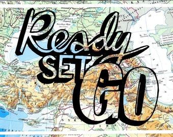 A4 original artwork - Ready Set Go!  Mixed media, arty map gift perfect for trendy boyfriend, dad or any travel lover.
