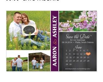 DIY Printable - Aaron and Ashley Save the Date Postcard, Save the Date Card, Printable Save the Date, Custom Colors, Photo Digital File