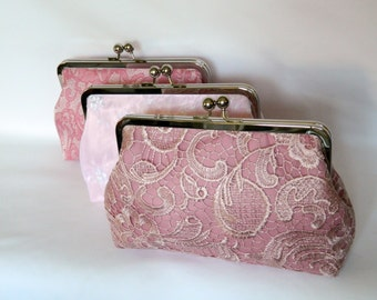 Combination Set of 3 Pink Bridal Clutches, Bridesmaids Gifts, Pink Bridal Clutch Purses, Wedding Clutch, Bridesmaids Clutch