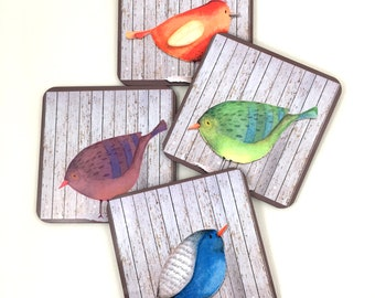 Birds of a Feather 4 piece coaster set, Blue, Green, Red and Purple Birds, Home Decor , Cabin, Mountain Home Style