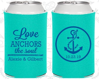 Love Anchor the Soul, Wedding Favors, Anchor Wedding Favors, Nautical Wedding Favors, Custom Can Coolers (40)