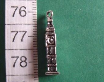 silver charm, set of 4, big ben, 25mmx5mm