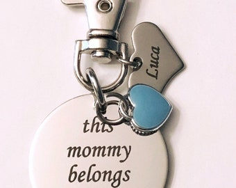 This Mommy Belongs to keychain... add a Personalized name / initial/ choose a charm (occupation / sports / theme)